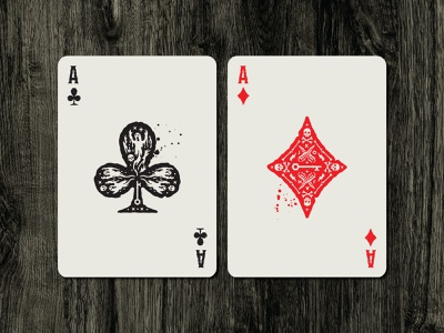 Campy Creatures Deadluxe Playing Cards - Aces halloween haunted campy creatures ghosts specters wooden stake ace of diamonds ace of clubs aces custom playing cards playing cards