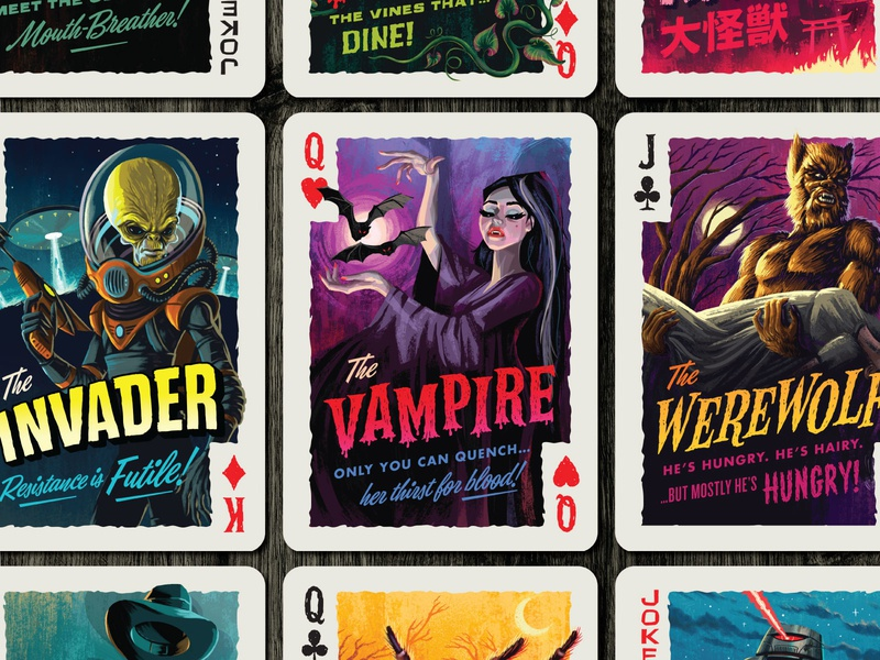 Campy Creatures Deadluxe Playing Cards - Face Cards joker king queen jack clubs diamonds spades hearts invader werewolf vampire custom playing cards playing cards