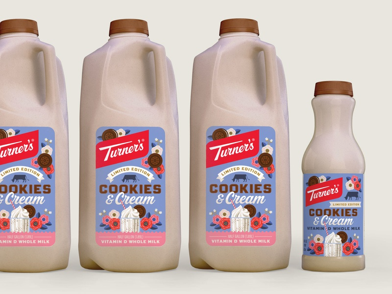 Turner's Cookies & Cream Milk dairy packaging dairy milkshake cream cookies milk packaging design illustration