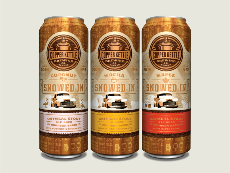 Copper Kettle 19.2 oz. Cans - Snowed In Variants snowed in snow beer can craft beer packaging design illustration