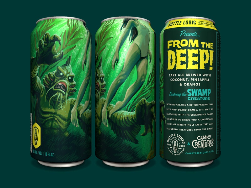 Bottle Logic Campy Creatures From The Deep Tart Ale pulp art the creature illustration packagingdesign classic horror swamp creature beer can independent beer craft beer