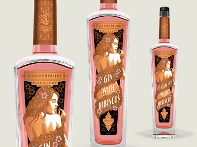 CopperMuse Gin with Hibiscus beverage packaging copper hibiscus art nouveau gin distilling art deco packaging design illustration