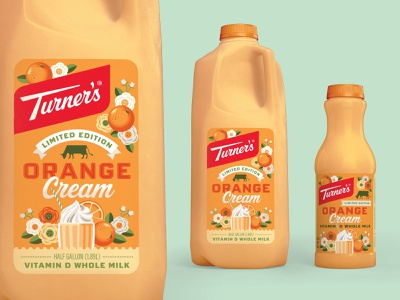 Turner's Orange Cream Milk orange creamsicle milk dairy packaging design