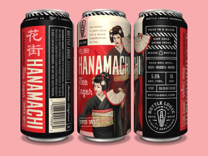 Bottle Logic Hanamachi Rice Lager Cans illustration beer branding beer can packaging design craft beer pulp art