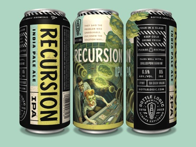 Bottle Logic Recursion IPA package design illustration craft beer