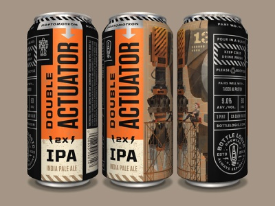 Bottle Logic Double Actuator IPA typography character illustration beer can packaging design pulp art craft beer illustration
