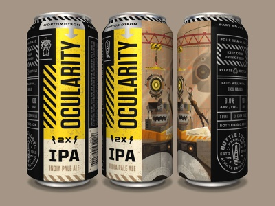 Bottle Logic Ocularity Double IPA typography pulp art beer can craft beer packaging design illustration