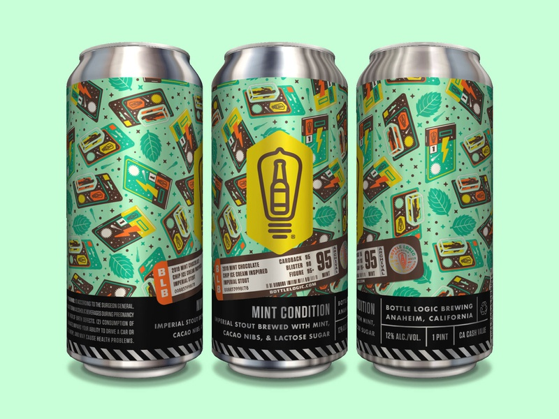 Bottle Logic Mint Condition Stout Cans graded mint chocolate chip mint comic book action figure beer can packaging design craft beer illustration