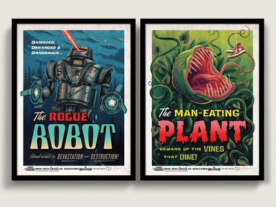 Campy Creatures Rogue Robot & Man-Eating Plant Screen Prints