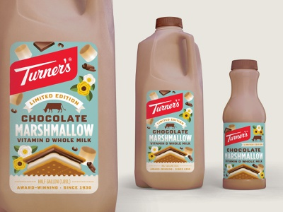 Turner's Chocolate Marshmallow Milk Packaging branding design typography packaging design illustration