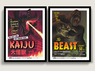 Campy Creature Kaiju / Beast Screen Prints campy creatures halloween horror art horror movie illustration screen print screenprint