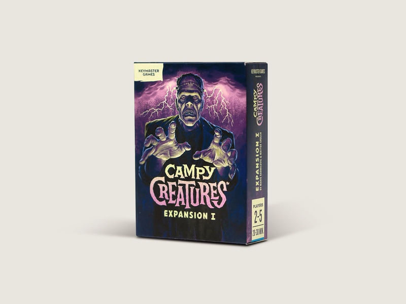 Campy Creatures Expansion 1 Game board game print typography frankenstein horror game art packaging design illustration
