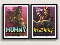 The Mummy & Werewolf Campy Creatures Prints