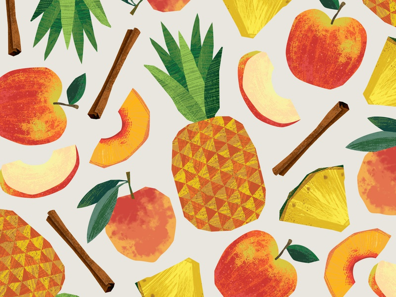 Turners Cottage Cheese Flavor Illustrations peaches cinnamon peach apple pineapple packaging design illustration