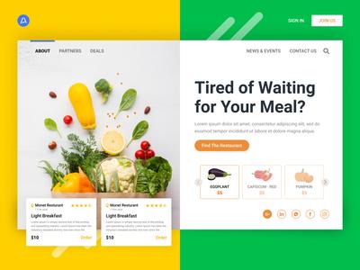 Vegetarians Food typography dashboard design website web design web app banner design ux illustration