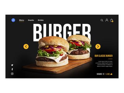 Burger mobile app banner design ux