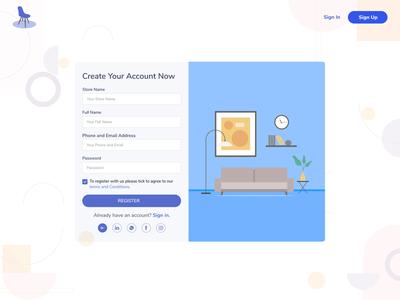Furniture Sign up Page logo design illustration web app