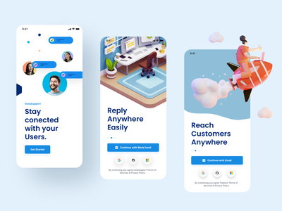 InstaSupport - Onboarding ios app design ios list chat reply uiux ui mobile report bug agent customer app support