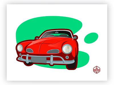 Karmann Ghia icon graphic art designgrafico draft vector illustrator illustration flat drawing design 2d