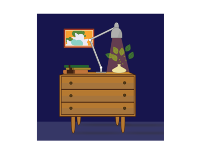 Small cabinet at night
