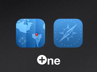 One+  Safari And Maps safari maps ios iphone theme icon
