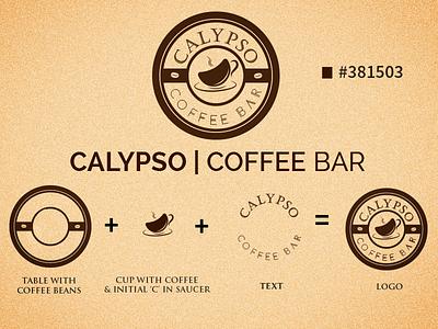 Calypso Coffee Bar Logo table bean coffee vector graphics design branding logo