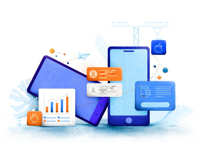 Illustration - Mobile mobile web team branding illustration design objectivity czyzkowski