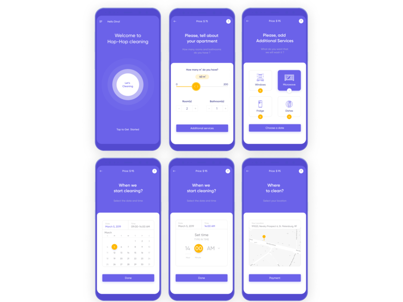 Hop-Hop - cleaning app UI/UX slider calendar gogle map screen pulse purple android house pantone 2018 cleaning clean app ux ui