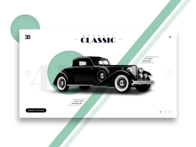 Bugatti Classic - Home page herosection slider mockup classic car homepage webpage website uiux branding creative design typography modern classic bugatti