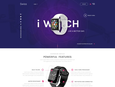Swiss  - Single product design landing page
