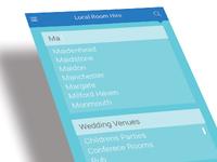 search screen - venue hire app