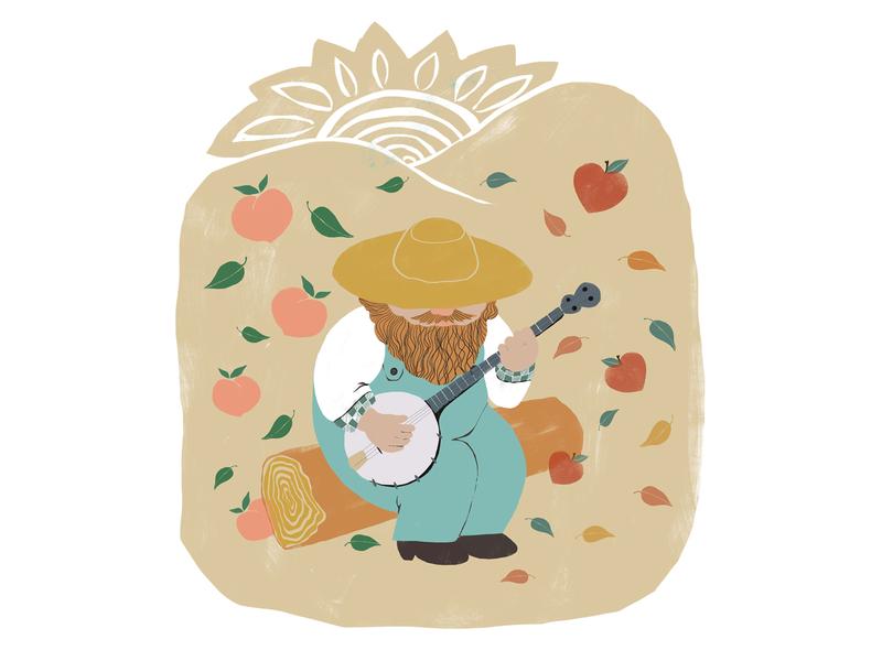 Banjo player bluegrass banjo children book illustration character design design adobe dribbble hand drawn digital illustration art illustration art
