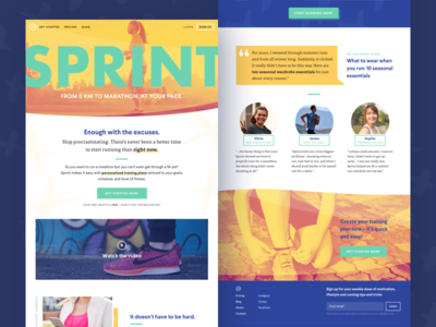 Sprint landing page offbeat young friendly colorful bright running fitness sports landing page visual design user interface ui