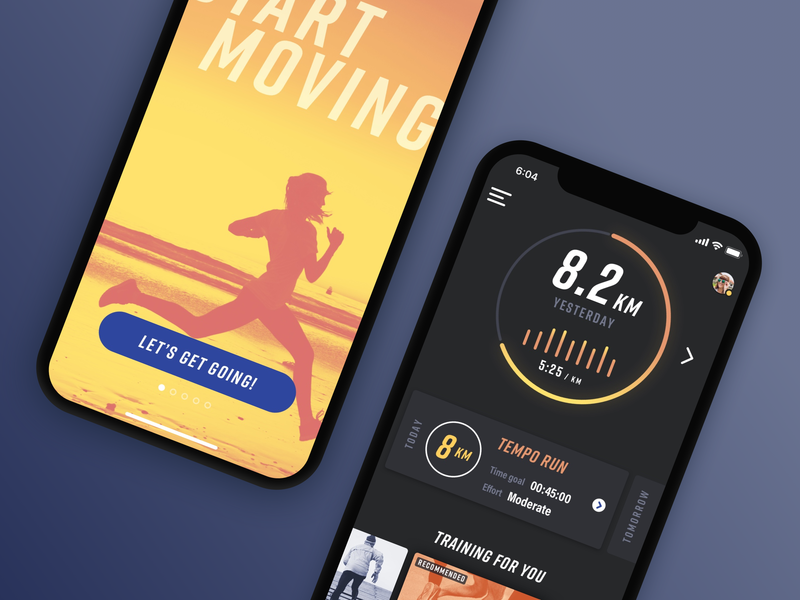 Sprint onboarding and dashboard preview colorful orange yellow iphone running statistics onboarding dashboard bright bold dark fitness ios app mobile ui design ux design