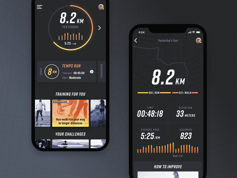 Sprint dashboard and run details stats details dashboard map graphic bold dark running fitness ux design ui design mobile ios iphone app