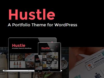 WP Hustle Portfolio WordPress Theme wordpress portfolio responsive dark css3 animated light blog
