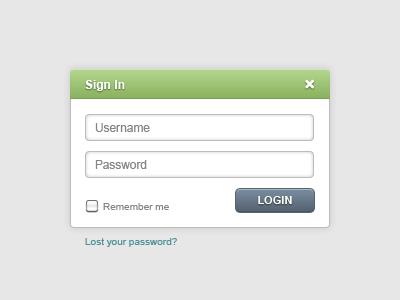 Sign In Notification ui modal freebie green notification slate login sign in