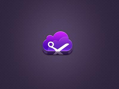 Cut the cloud icon icon 3d cut