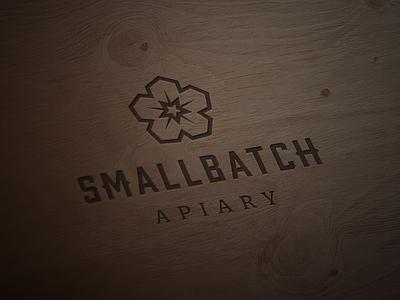 SmallBatch Apiary Logo smallbatch wood honeycomb hexagon flower honey bee apiary typography branding logo vector icon design