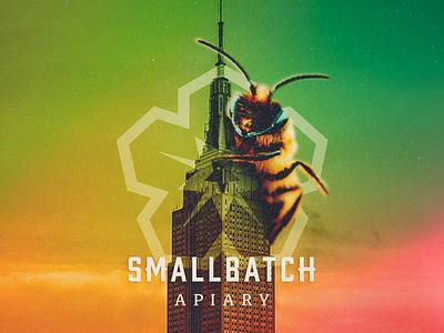 SmallBatch Apiary kingkong honeycomb hexagon flower smallbatch apiary honeybee bee honey icon branding logo design