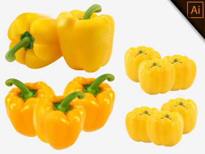 Vector illustration of fresh Yellow Paprika with realistic fruit chili capsicum pepper paprika realism illustration gradient mesh vegetable design natural organic healthy vector realistic meshfill art meshfill