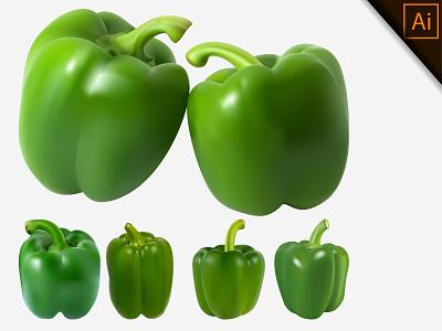 Fresh Photo realistic Dark green paprika chili capsicum pepper paprika realism illustration gradient mesh fruit vegetable design natural organic healthy vector realistic meshfill art meshfill