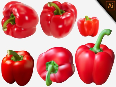 Fresh Red Paprika Transparent Background With Gradient Mesh