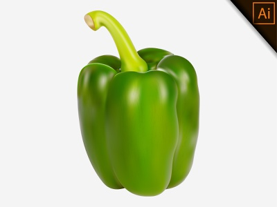 Realistic vector of fresh green paprika on a white background apple chili capsicum pepper paprika fruit realism illustration gradient mesh vegetable design natural organic healthy vector realistic meshfill art meshfill