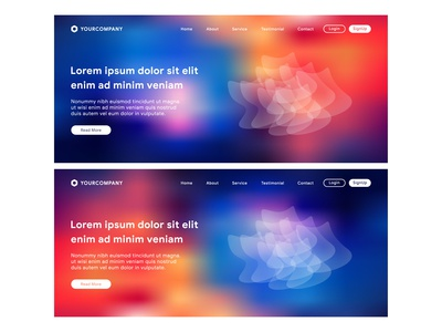 Website Landing Page with Vibrant gradient background