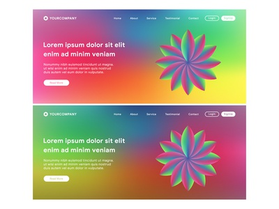Website template and landing page with colorful background