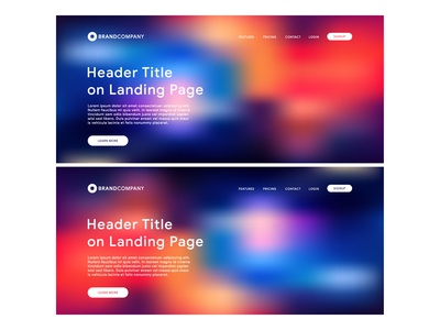 Website Landing Page Vector Template with Gradient Mesh