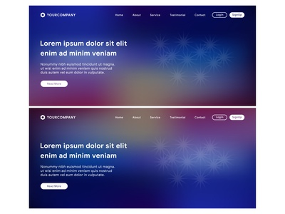 Landing page with colorful background