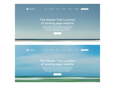 header web of landing page with beach and sky background