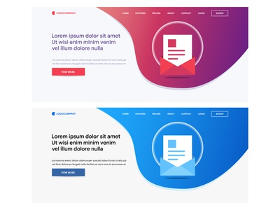 Concepts of header web for website and landing page design